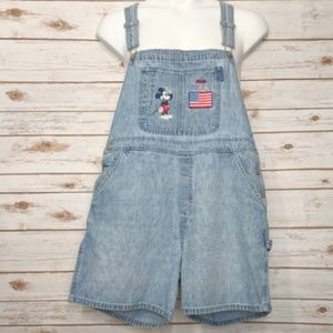 Disney coverall shorts  Mickey Mouse & US flag